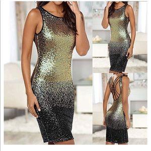 Venus Gold & Black Ombré Sequin Dress